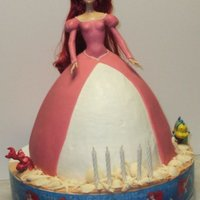Mckinzie's Princess Ariel Doll Cake Wilton wonder mold / BC icing / Gum-paste dress / white chocolate shells