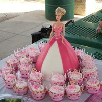 Mckinzie's Princess Barbie & Cupcakes Barbie - I used one w/a plastic bodice and just matched the color of the skirt - Wilton wonder mold w/RBC... I did strips to give the look...