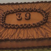 "Chocolate 70Th 12"" x 18"" Swiss Chocolate Fudge Cake. I used Ghirardelli Milk Chocolate Morsels to make the BC icing, decorate with, make the &..."