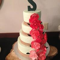 Five 5 Tier White Almond Wedding Cake With Strawberry Filling On Bottom And Fourth Tier Lemon Wstrawberry Filling And Top Tier Coconut Five (5) tier, white almond wedding cake with strawberry filling on bottom and fourth tier, lemon w/strawberry filling and top tier coconut...