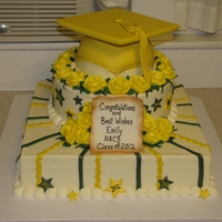 Emily's High School Grad Party Cake Cardboard mortar board, the rest is all edible. BC with fondant decor