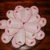 Ballet Slipper Cookies Nfsc W Royal Icing And Fondant Rolled Roses Ballet slipper cookies -- NFSC w/ royal icing and fondant rolled roses