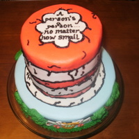 Dr Seuss Themed Baby Shower Cake W Clothesline On Bottom And Cats Hat On Top W Seuss Quote Dr. Seuss themed baby shower cake w/ clothesline on bottom and Cat's hat on top w/ Seuss quote