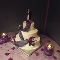 "6 10 And 14 Round Cakes Iced In Buttercream With Piping To Match Patterns On Bridal Gown Purple Fondant Drape Brushed With Luster Dust 6"", 10"" and 14"" round cakes iced in buttercream with piping to match patterns on bridal gown. Purple fondant drape brushed..."