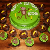 Monkey Cake W Cupcakes Cake Is Iced In Buttercream With Fondant Monkey And Bananas Cupcakes Topped With Fondant Peeled Banana And Fonda Monkey cake w/ cupcakes. Cake is iced in buttercream with fondant monkey and bananas. Cupcakes topped with fondant peeled banana and...