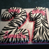 21St Zebra Birthday 21st Birthday - fondant covered with buttercream details