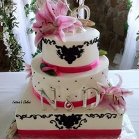 Bold Pink And Black All BC except for the black filigree shape (cricut cake)