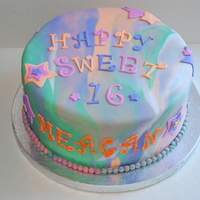 Tie-Dyed Sweet 16 Cake For a small Sweet 16, wanted tie-dyed & stars with her favorite colors. Also wanted matching cookies.TFL