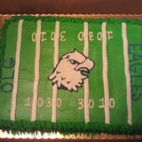 School Football Celebration 1/2 sheet cake, single layer for a school football dinner. All buttercream, eagle is hand drawn