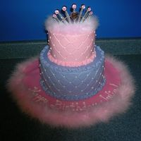 Pink And Purple Princess Cake For a 6-year-old birthday. BC with diamond impression mat.