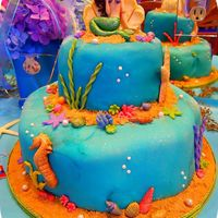 Mermaid Under The Sea Sweet 16 Birthday Cake All decorations made of fondant