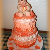 "Just Peachy Cake made for a 13 year old girl that loves the color ""peach"" which also happens to be the name of her teddy bear. All..."