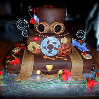 Steampunk Rock-N-Roll Steampunk Cake - All decoration items are made from fondant (except wire swirls). Made for a Rock Concert (Steampunk Themed) Front of Cake...