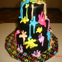 Paint Ball Cake White cake with color splat inside as well inside top 2 tiers...bottom tier chocolate