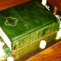 Living Bible Cake Sour cream white cake, buttercream 'pages', fondant cover to replicate the exact Living Bible cake that was given to a young man...