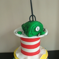 "Dr. Seuss Birthday Cake Representing ""oh the places you'll go"" ""cat in the hat"" ""One fish, two fish"" ""green eggs and ham.&..."