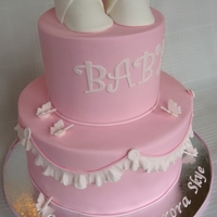 Baby Shower Cake Fondant cake with gumpaste shoes