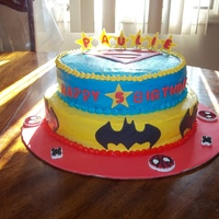 Superhero Cake I was asked to make a superhero cake for a little boy so I made batman, spiderman and superman....he loved it!