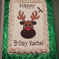 Reindeer Cake This was done for my friends daughter. I did the cake just as she drew it on the paper, that's why it says reindeer with an arrow...