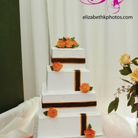 Orange Roses Buttercream cake with gum paste roses