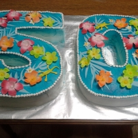 Happy 50 buttercreme airbrushed w/ fondant flowers