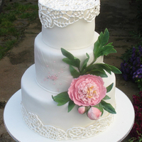 White Wedding Cake With Peony