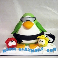 "Club Penguin Cake Birthday Cake For A Friends Son With His Penguin And Favourite Puffles Represented Vanilla Cakevanilla Buttercream Club Penguin Cake. Birthday cake for a friend's son with his penguin and favourite ""puffles"" represented. Vanilla cake/..."