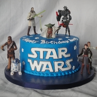 "Star Wars Simple 8"" Star Wars themed cake. This 5-year-old knew what he wanted...the Star Wars logo and ""real"" people (no fondant..."