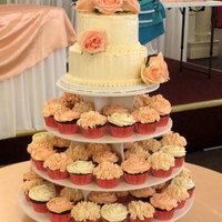 Hydrangea And Rose Cupcake Tower