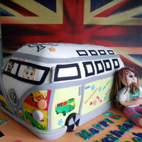 Vw Campervan And Hippy Cake For my Brother's 40th Birthday