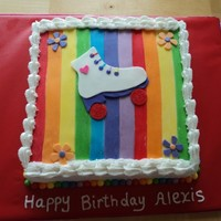 Rainbows And Rollerskates This is a 12 inch square cake, french vanilla tinted every color of the rainbow ( time consuming!) the cake is iced in buttercream and the...
