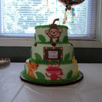 "Fisher Price Rainforest Baby Shower 10,8,6"" cakes. All buttercream, and decorations I made out of fondant. TFL!"