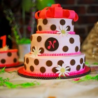 "Polka Dot Birthday Cake This is a 10,8 and 6"". All iced in buttercream, decorations are fondant."