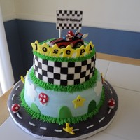 "Mario Kart 9"" and 6"", all buttercream, decorations are fondant.TFL!"