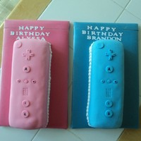 Wii Controllers   Oreo cookie cake, filled and iced in BC. Covered and decorated in fondant.