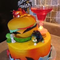 Cheeseburger In Paradise Jimmy Buffet cake cheeseburger was cake, parrots were from fondant and gumpaste mixure and painted with food coloring. Other items were...