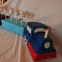 Train Engine Cake With Cake Pops In Cars Only The Train Engine Is Cake Train engine cake with cake pops in cars (only the train engine is cake)