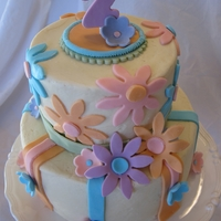 Flower Birthday Cake Muted colors...flowers cake for 2nd birthday