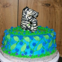 Zebra   Client asked for small chocolate cake with Zebra on top.