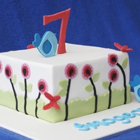 Blue Bird And Butterflies  Inspiration (okay, a blatant copy) from yorkiemom1023 and lepititcakes gorgeous creations. Mine was a 10 inch square vanilla cake with...