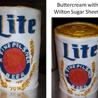 Miller Lite All ABC expect for the Wilton Sugar Sheets used for label. (It was the first time I tried them and I would not recommend using them again...