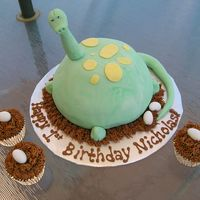 Dinosaur Cake the dinosaur is covered in fondant and the cupcakes have bc incing with jordan almonds on top as eggs.