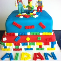 Lego Cake Lego cake with 3 lego men hand sculpted. The lego men are the favorites of the 5 year old birthday boy!