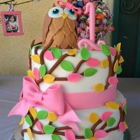 Owl Birthday Cake   Owl Cake for a birthday girl