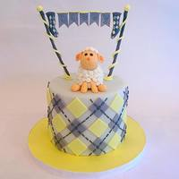 Yellow And Gray Baby Shower Baby shower cake