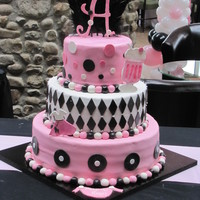 50S Glam! This cake was made for a Bat Mitzvah celebration.. Customer requested a 50s Glam theme..Pink, black and white color scheme. Bottom layer is...