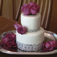 Damask And Roses Baptism Cake