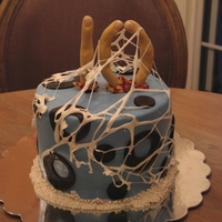 "Friday The 13Th Cake Friday the 13th birthday cake for a girl turning 10. Severed fingers are fondant, with non-edible fake nails, and in the shape of a ""..."