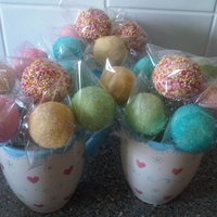 Pastel Cake Pops Vanilla cake pops coated in white chocolate and decorated with pastel coloured sugar or sugar balls
