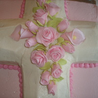 Pink Roses Communion Cake First Communion cake I made for my nieces with fondant flowers